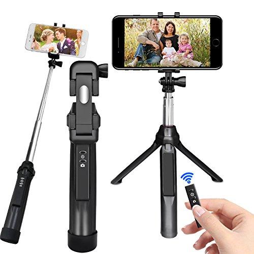 Selfie Stangen, PEYOU [3 in 1]Pocket Bluetooth Selfie Erweiterbar Stick mit Stativ und abnehmbarer Bluetooth Fernbedienung für Gopro Kamera, iPhone, Samsung Galaxy & Smartphone unter 6 zoll