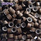 TOOGOO(R) 200 PCS 5mm Moyen silicone brun double Micro Anneaux Liens Perles Pour I Pointe cautionne Plume Extensions de cheveux