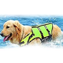 Chaleco reflectante para mascotas Warrah para aumentar la visibilidad, ajuste fácil, ajustable, para perro, para la vida cotidiana, alta ayuda, flotación, flotación, flotación, chaleco salvavidas para perro, verde, verde, Large