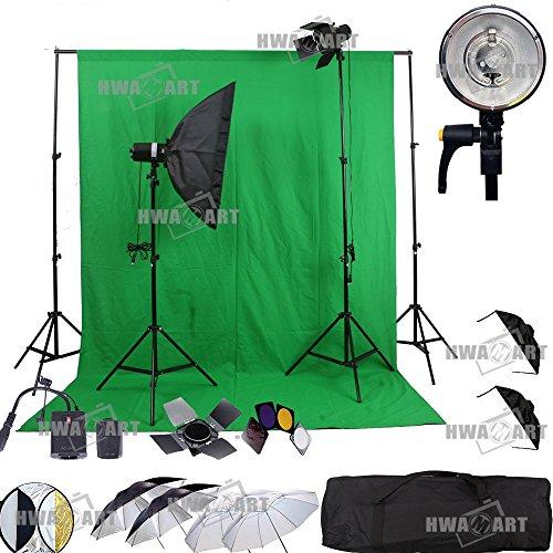 HWAMART ® Portrait Professional Fotografie Studio-Blitzlicht Strobe-Beleuchtung Kit für Porträtfotografie, Studio und Video Mit Scheunentor, kulissen