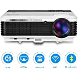 EUG Wireless LCD Projector 3600 Lumens- Bluetooth Airplay Miracast WiFi- Multimedia Home Theater Video Projector- Support 1080P 720P HDMI USB VGA AV- For Home Cinema Movie Gaming TV Indoor Outdoor