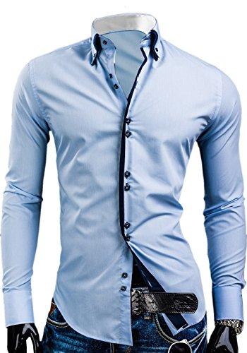 Élégant pour homme Coupe ajustée décontractée italien Double Col Chemise manches longues, M, L, XL, XXL DC12 Bleu - Bleu ciel