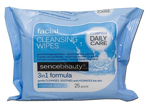 Sencebeauty Reinigungstücher Gesicht und Hals, Normale Haut 2er Pack (2 x 25 Stück) (H2/9)