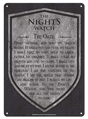 (Game of Thrones Schild Schwur der Nachtwache 21x15cm Metall grau)