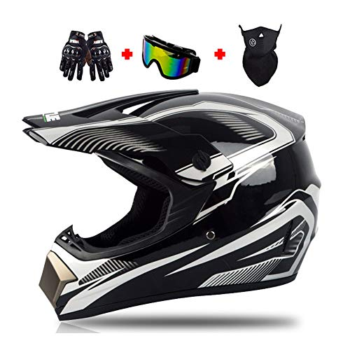 LEENY Motocross-Helm Herren Crosshelm mit Brille Handschuhe Maske, Schwarzes Silber Motorradhelm Damen Männer Racing Enduro Downhill-Helm Dirt Bikes ATV MTB BMX Quad Motorrad Offroad-Helm,XL