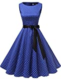Gardenwed Damen 1950er Vintage Cocktailkleid Rockabilly Retro Schwingen Kleid Faltenrock Royal Blue Small White Dot 2XL