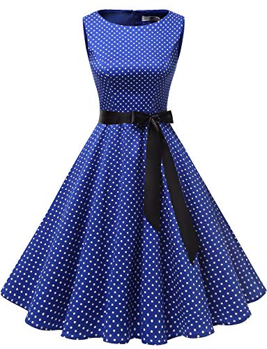 Gardenwed Damen 1950er Vintage Cocktailkleid Rockabilly Retro Schwingen Kleid Faltenrock Royal Blue Small White Dot L