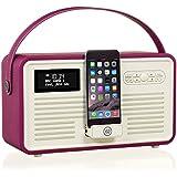 VQ Retro Mk II DAB/DAB+ Digital- und FM-Radio mit Bluetooth, Apple Lightning Dock und 'Retro Mini Hepburn Mk - Lila