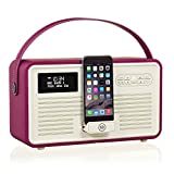 VQ Retro Mk II DAB/DAB+ Digital- und FM-Radio mit Bluetooth, Apple Lightning Dock und Weckfunktion - Lila