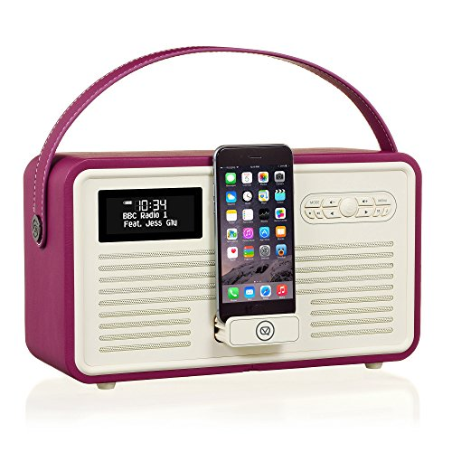 VQ Retro Mk II DAB/DAB+ Digital- und FM-Radio mit Bluetooth, Apple Lightning Dock und Weckfunktion - Lila Fm-transmitter Charge Dock
