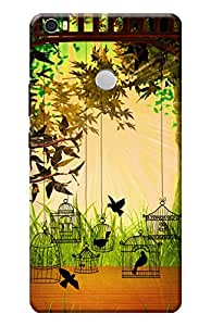 Kanvas Cases Printed Back Cover For Xiaomi Mi Max (Morning Cage Birds) With Mobile Viewing Stand