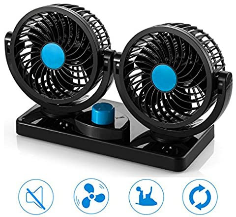 Car Fans , Florally Dual Head Car Auto Cooling Air Fan - Quickly Blow Away Hot Air Smoke Smell Bad Odors - Defrost Windshield Cool Down Summer Vehicles in