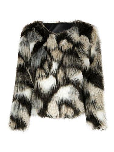 Choies mujer abrigo de piel sintética manga larga delantera abierta de  color bloque a72044756220