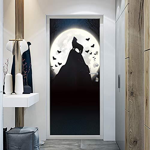 raufkleber Halloween Dekoration kreative Wolf heulen, DIY abnehmbare Hause wasserdicht Selbstklebende tapete (38,5 cm * 200 cm * 2 Stücke),A ()