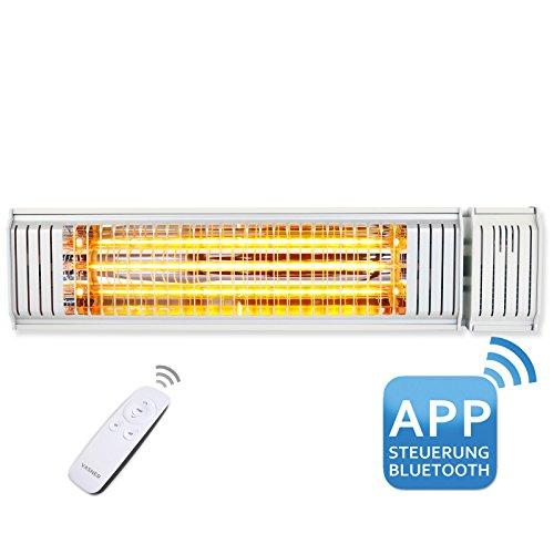 VASNER Infrarot-Heizstrahler Appino 20 weiß, App Steuerung, Fernbedienung, 2000 Watt, Terrassenstrahler elektrisch, Infrarotstrahler Terrasse außen, Bluetooth