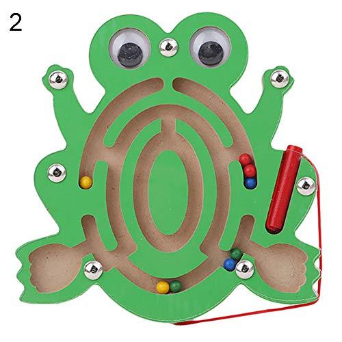 FEIDAjdzf Spielzeug für Jungen, Mädchen, Kleinkind, magnetisches Labyrinthspielzeug, Holz, Puzzle, Spiel Gehirn, Teaser Geistiges Puzzlebrett Frosch