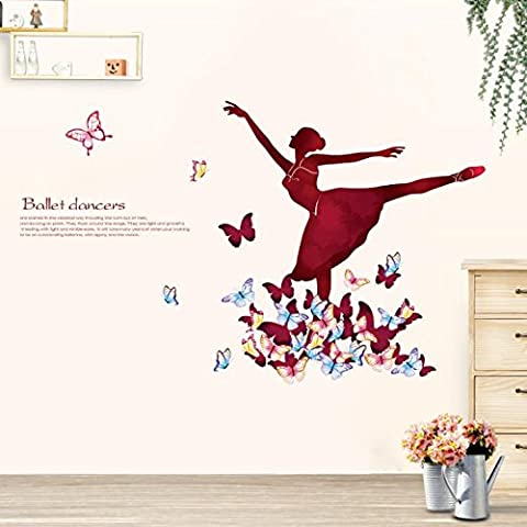 You can remove the wall sticker dancing ballet girls bedroom wall art school classroom posters 134*81cm