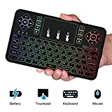 Roogeld Mini Tastatur Beleuchtet, 2.4 GHz Wireless Keyboard/ 10 Meter Reichweite geeignet für Smart TV, Android TV Box, HTPC, IPTV, XBOX360, PC, PAD, PS3, Tablets usw. (3 Color)