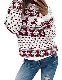 Preisvergleich für Weihnachts Langarmshirt Rot Damen ♥ZEZKT♥Langarm T-Shirt Rundhals Sweatshirt Frauen Weihnachts Blusen Rentier...