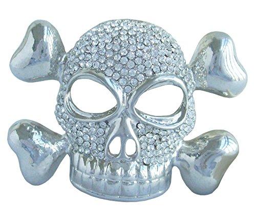 �cm Halloween Totenkopf Brosche Pin Anhänger Österreichischer Kristall Transparent ukb4733 (Strass Halloween-pins)