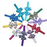 #8: Multi-Colour Grosgrain Ribbon Floral Polka Dot Bow| Headband for Girls| Headband Baby Girl| ( 10Pcs, Color Random)
