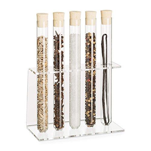 Tuuters Acryl Reagenzglasständer mit Reagenzglas | Reagenzglashalter | Gewürzregal | Inklusive Natur-Korken ✓ (5-Loch Ø18mm +Glas) -