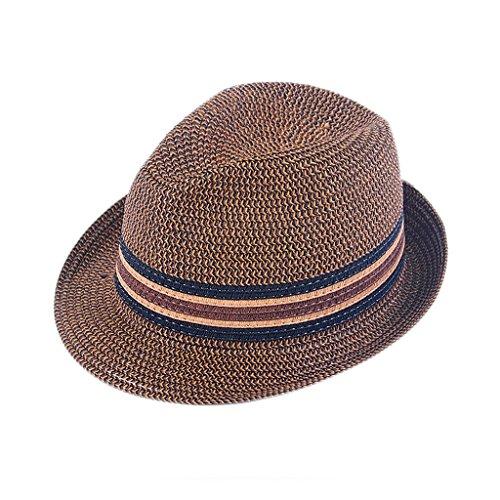 YXF-Men's sun hat YX-Sent für die Ältesten Sommer-Hut, europäischer und amerikanischer Retro Studenten-Sommer-Brown-Sonnenschutz-Strohhut YX- $ w $ (Size : 57cm)