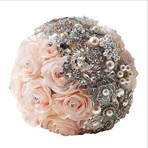 Handgemachte Diamanten Perle Satin Rose Brautjungfern Braut künstliche Bouquets Braut Hochzeit Hochzeitsgeschenk ( Color : Diamond )
