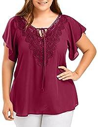 Camisetas de Tallas Grandes para Mujer, LILICAT® Camisetas de Encaje de Gasa Elegante Blusa