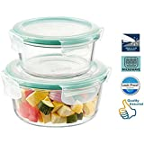 HALO NATION Borosilicate Klip And Store Square Containers With Airtight Lid, Glass, Clear (420ml, 680ml) - Set Of 2