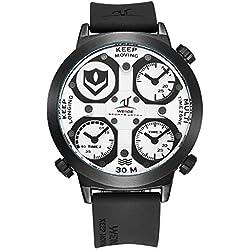 Alienwork Sport Quartz Watch Multi Time Zones Wristwatch XXL Oversized Polyurethane white black OS.UV1503-2