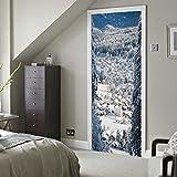 BAOZIV587 3D Tür Aufkleber Alpine Dorf Schnee Landschaft Kreative Wandaufkleber Personalisierte Holztür PVC Tür Tapete Wandbild Wasserdicht Selbstklebende Abnehmbare Tür Aufkleber 77 * 200 Cm