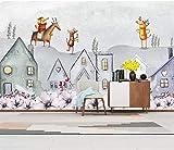 HONGYUANZHANG Einfache Florale Architektur Der Persönlichkeit Tapete Des Foto-3D Künstlerische Landschafts-Fernsehhintergrund-Tapete,80Inch (H) X 112Inch (W)