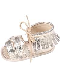 Fossen Zapatos Bebe Verano Recien Nacido Niña Primeros Pasos Antideslizante Suela Blanda Sandalias con Borla