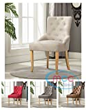 Linen Fabric Accent Chair Dining Chair For Home & Commercial Restaurants [Brown* Grey* Red* Cream*] (Cream)