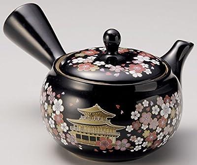 Yamakiikai Japonais Tokoname Céramique Kyusu- Théière Fleurs noires & Temple Kinkaku - avec passoire en acier inoxydable 280 cc FY1917