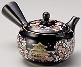 Yamakiikai Japanische Tokoname Keramik Kyusu Teekanne schwarze Blumen & Kinkaku Tempel - mit Edelstahlsieb 280 cc FY1917