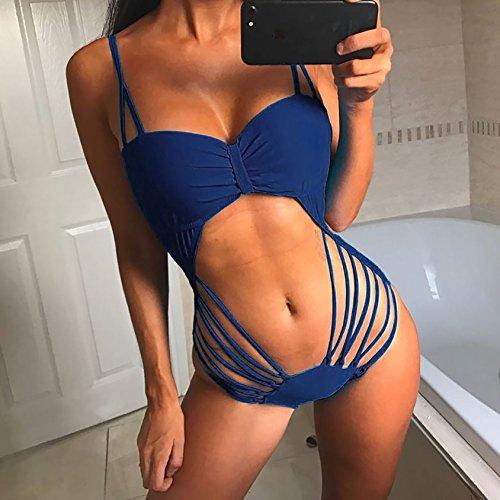Damen Ärmellos Bra BHs BH´s Und Korsagen Dessous Push Up Sammeln Cocktail Sporttops Vest Sportweste Jumpsuit Badeanzug Blau