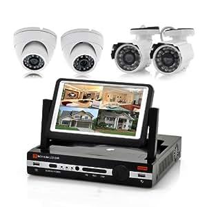 Kit de videosurveillance 4 canaux DVR - écran LCD de 7 pouces, 2x caméras extérieures, 2x caméras d'intérieur, H.264