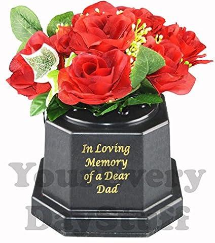 Memorial Graveside Roses Flowers Plaque Ornament Lights Loving Memory Dear
