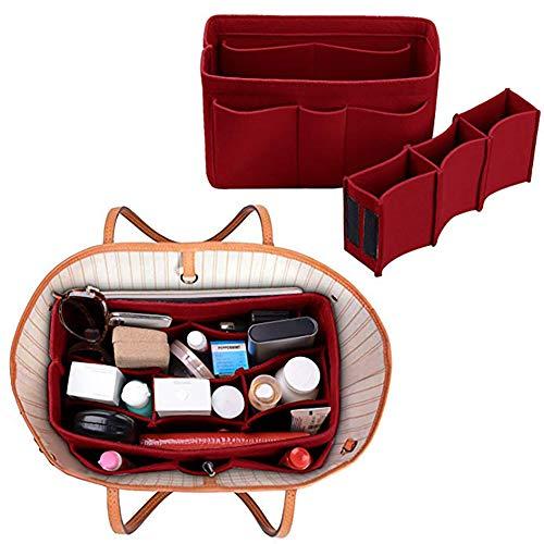 Xiton Taschenorganizer Filz,Organizer Tasche,Taschen organisator für Handtaschen Makeup Organizer Geldbörse für Speedy 30 Neverfull MM Large für Taschen ab 30cm Innenmaß - Rot