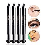 Stylo à sourcils imperméable à l'eau multi-fonction, 4 en 1 noir + gris + café + brun couleurs Eyeliner Eye Liner Lip Liner crayon Smudge-Proof cosmétiques maquillage outil
