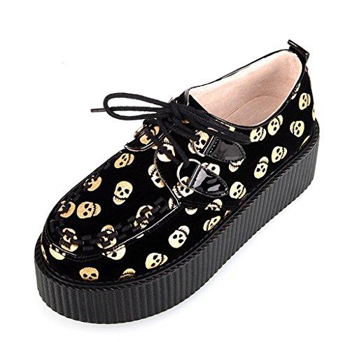 RoseG Zapatos Creepers Plataforma Mujer Cordones Cráneo Amarillo Size39