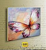 FENGJIAREN 100% Reines Handgemaltes Ölgemälde Tier-Serie Rosa Schmetterling Geeignet Für Schlafzimmer Wohnzimmer Veranda Dekorative Malerei Ohne Rahmen 50 × 50 cm