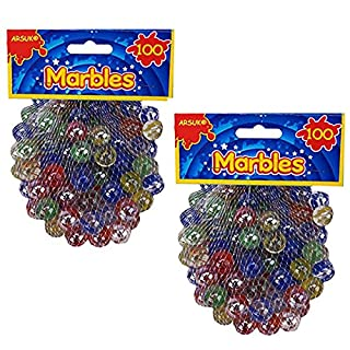 Cat's Eye Marbles, Glass Marbles, Comes in a bag, Protection against damage, Sports Toys & Outdoor By ARSUK (200pc Colour Marbles)