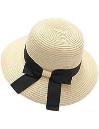 Mme Chapeau De Paille D'arc été Chapeau De Soleil Plage Pliable Chapeau Voyage Vacances