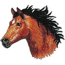 Parches - caballo cabeza animal - marrón - 5,6x5,5cm - by catch-the-patch® termoadhesivos bordados aplique para ropa