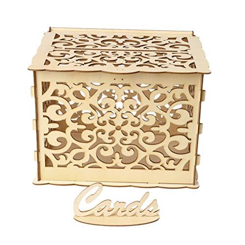 Amosfun Hölzerne Vinatge Hochzeit Karte Box DIY rustikale Hohle Hochzeit Box mit Schloss Schlüssel und Gummiringe für Hochzeit Brautdusche Partydekorationen (1 Schlüssel + 12 Gummiringe, große Größe)
