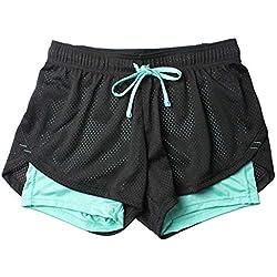 Fansi - Pantalones Cortos Deportivos para Mujer, Doble Capa, para Yoga, Correr, Verano, Deporte, Color Azul, poliéster, Azul, Large