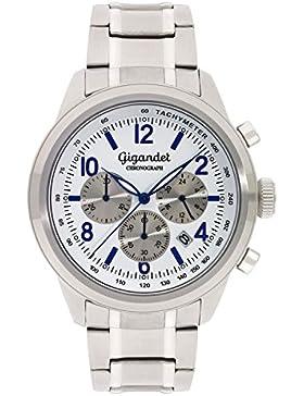 Gigandet Quarz Herren-Armbanduhr Journey Chronograph Uhr Datum Analog Edelstahlarmband Weiß Blau G25-005